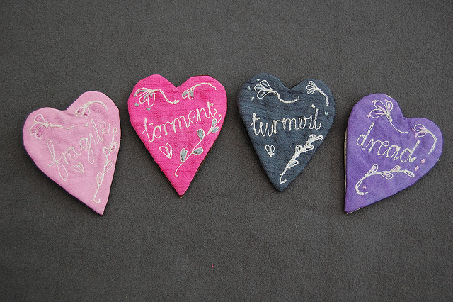 Silk word-hearts