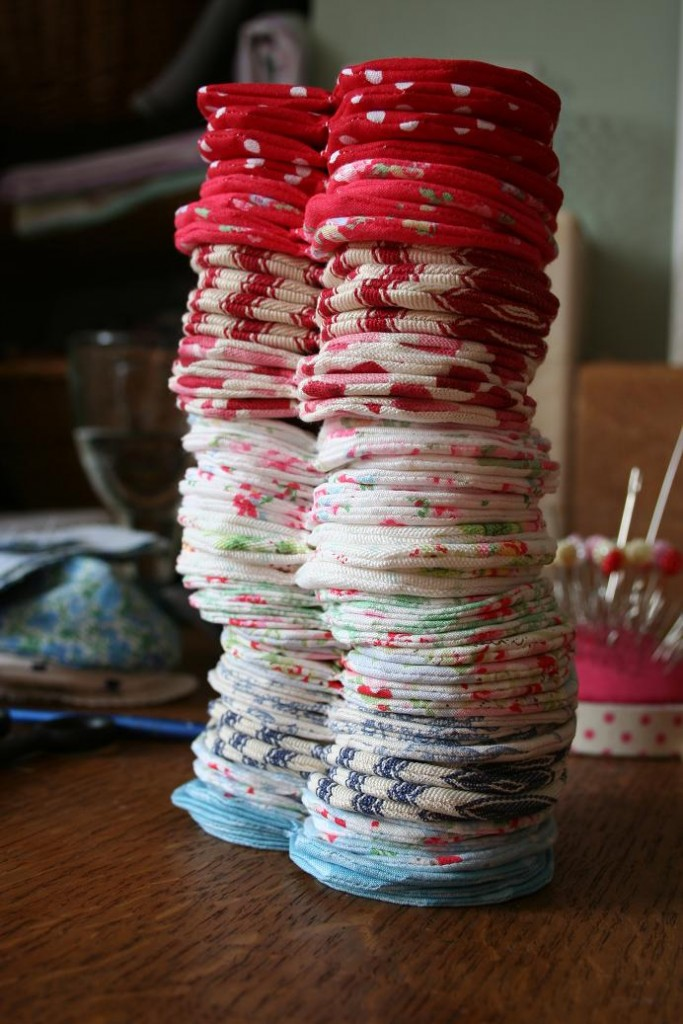 Stack of hearts, mid-construction