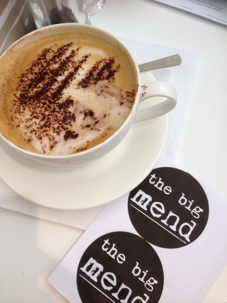 The Big Mend logo plus coffee.