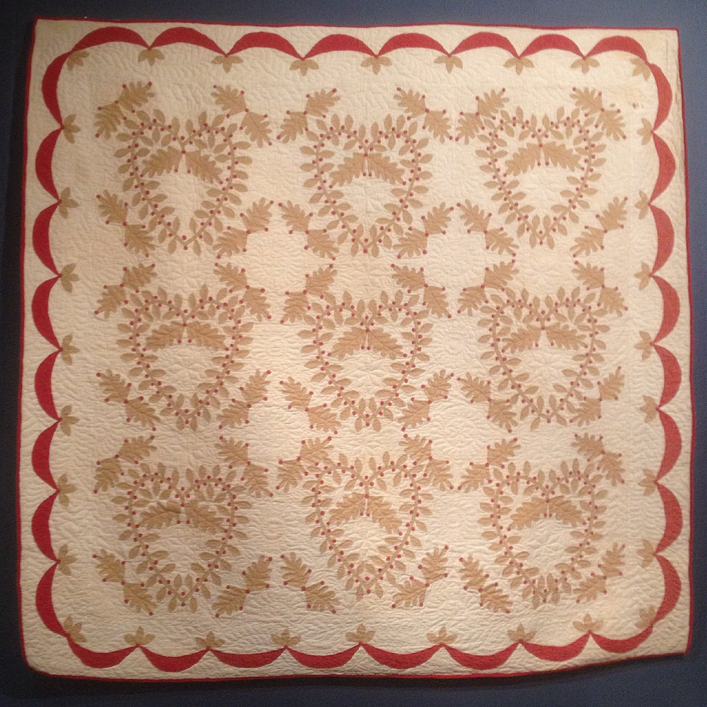 Christmas Bridge appliqued quilt